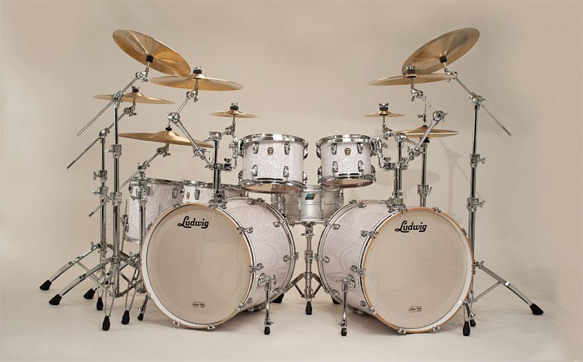 Classic Maple 2 Up Down Kit In White Marine Pearl L8245XX W Added 18x22 Bass Drum LB882XX